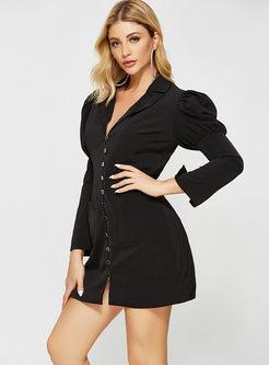 Work Notched Collar Long Sleeve Short Dress