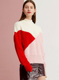 Turtleneck Color-blocked Pullover Loose Sweater