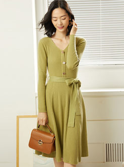 Solid Color V-neck A Line Sweater Dress