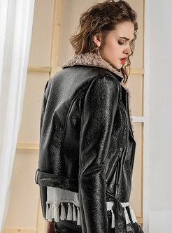 Lapel Thick Slim Short Leather Coat