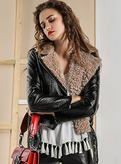Lapel Thick Slim Short Leather Coat