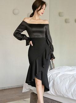 Black Slash Neck Long Sleeve Bodycon Dress