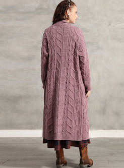 Vintage Straight Long Sweater Coat