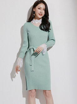Sweet Lace Patchwork Slim Sweater Dress
