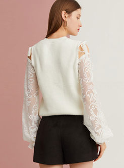 White Off Shoulder Patchwork Pullover Sweater