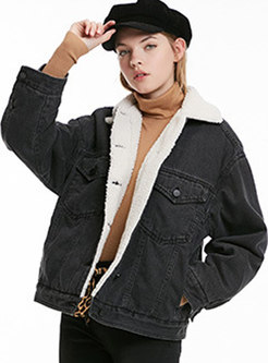 Lapel Cotton Thick Straight Denim Parka
