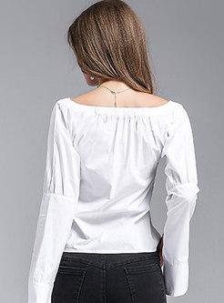 Slash Collar Flare Sleeve Short Blouse