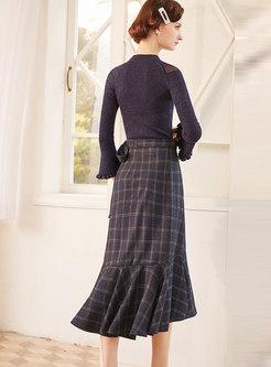 Knit Top & Plaid A Line Falbala Dress