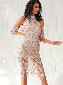 Chic Sequined Tassel Split Party Sheath Dress