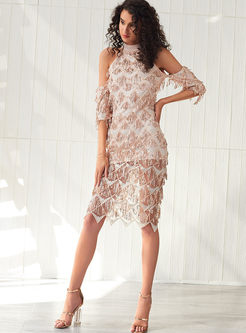 Chic Sequined Tassel Split Party Sheath Dress