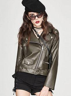 Lapel Side Zipper Short Slim Biker Jacket