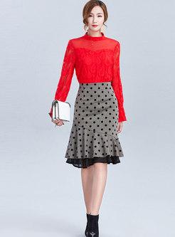 Dot Mermaid Bodycon Knit Skirt