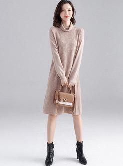 High Collar Pleated Loose Sweater Dress
