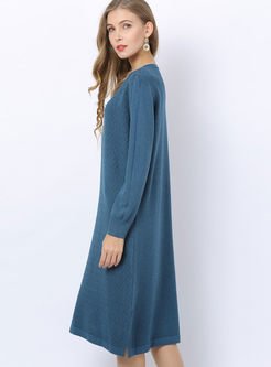 Long Sleeve Pullover Loose Knitted Dress