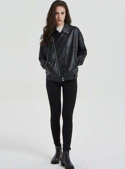 Black Turn Down Collar Bomber Jacket
