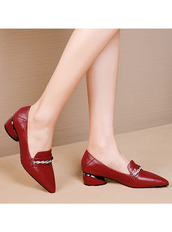 Pointed Head Chunky Heel Diamond Shoes