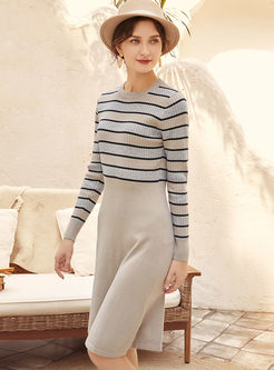 Casual Stripe Patchwork Knitted A Line Dress