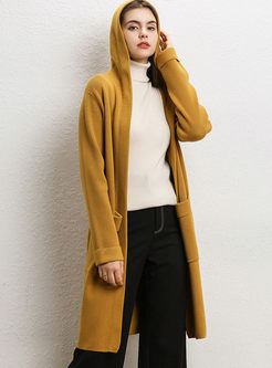 Solid Color Hooded Loose Sweater Coat