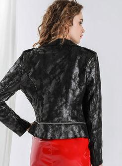 Lapel Side Zipper Short Biker Jacket