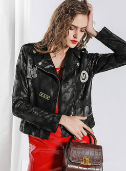 Lapel Side Zipper Short Biker Jacket