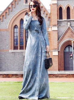 Lapel Print Waist Floor-length Maxi Dress