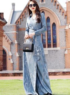 Lapel Print Waist Floor-length Maxi Dress
