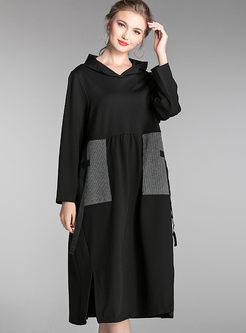 Color-blocked Hooded Slit Loose Dress