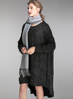 Plus Size Crew Neck Asymmetric Sweater Dress