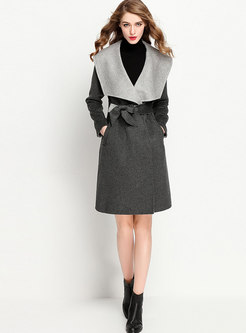 Turn Down Collar Thick Coat With Belt