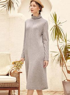 High Collar Straight Loose Sweater Dress