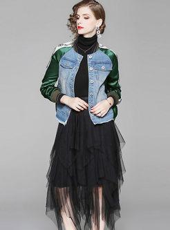 Denim Patchwork Jacket & Mesh Asymmetric Skirt