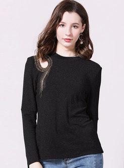 Sexy Openwork Beading Tassel Sweater