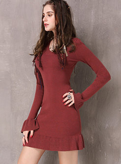 Solid Color V-neck Bodycon Sweater Dress