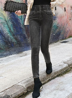 High Waisted Slim Denim Pencil Pants