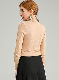 Cowl Neck Slim Pullover Thin Sweater