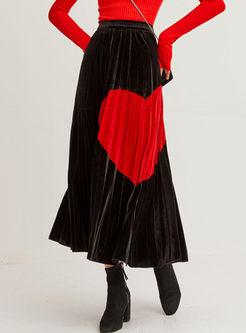 Elastic High Waisted Heart Print Velvet Skirt