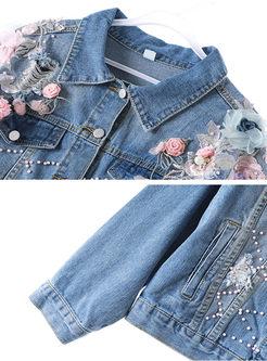 Lapel Beads Patchwork Flower Denim Coat