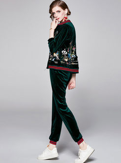 Casual V-neck Velvet Embroidered Pants Suit