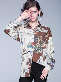 Retro Turn Down Collar Print Blouse