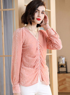 Pink V-neck Single-breasted Pullover Blouse