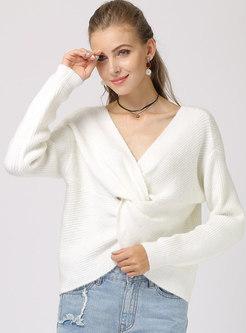 Solid Color V-neck Kink Loose Sweater