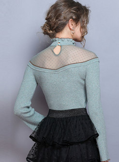High Collar Mesh Patchwork Slim Sweater