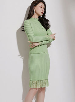 Long Sleeve Slim Sweater Dress With Vest