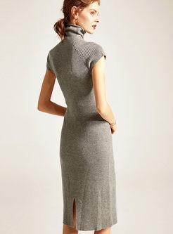 Turtleneck Short Sleeve Slim Sweater Dress