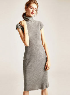 Turtleneck Short Sleeve Slim Sweater Dress