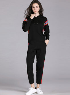 Casual Hooded Pullover Sweater Pants Suit