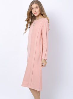 Solid Color O-neck Shift Sweater Dress