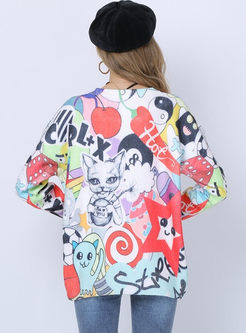 Long Sleeve Cartoon Print Pullover Sweater