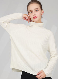 Turtleneck Pullover Slim Slit Sweater