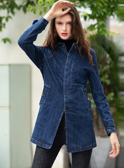 Lapel Long Sleeve Single-breasted Denim Coat